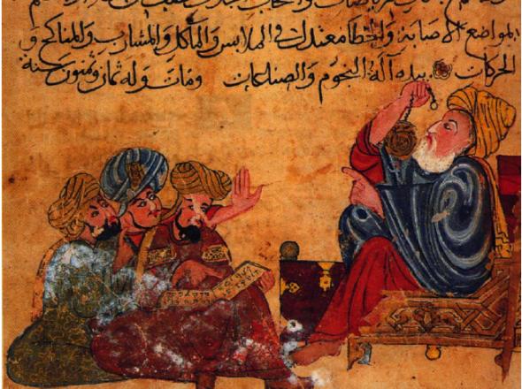 Aristote et ses disciples, miniature du XIIIe siècle, Bibliothèque de Topkapi à Istanbul