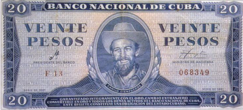 Banconota da venti pesos frimata da Ernesto Guevara come Presidente della Banca Nazionale