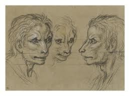 Le Brun, Trois tete d'homme rassemblant au loup