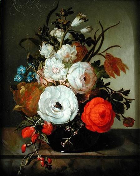 Rachel Ruysch, Still Life of Flowers in a Glass Vase, 1742