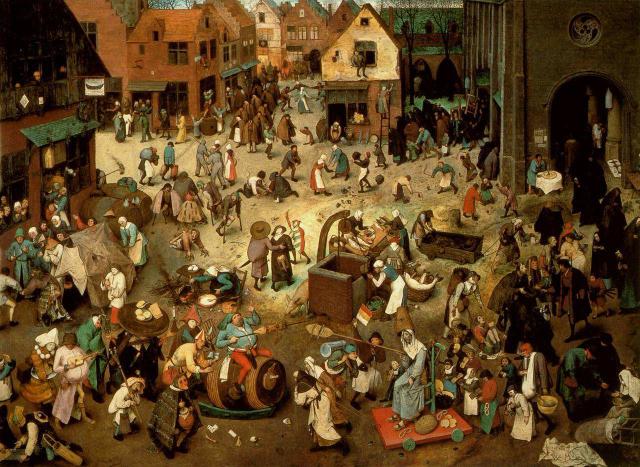 Pieter Bruegel il Vecchio, Lotta tra Carnevale e Quaresima (1559). Olio su tavola, 118×164,5 cm. Vienna, Kunsthistorisches Museum.