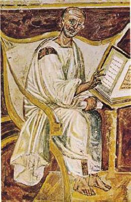 Ritratto di sant'Agostino - Affresco VI secolo - Roma, San Giovanni in Laterano