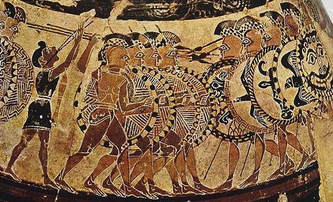Olpe Chigi (Particolare), falangi oplitiche che si affrontano, 630 a.C. ca