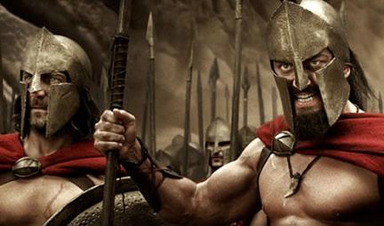 spartani con tribon rosso