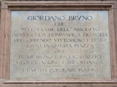 Perugia: la targa commemorativa del martirio del filosofo collocata davanti all'ingresso della basilica di San Domenico