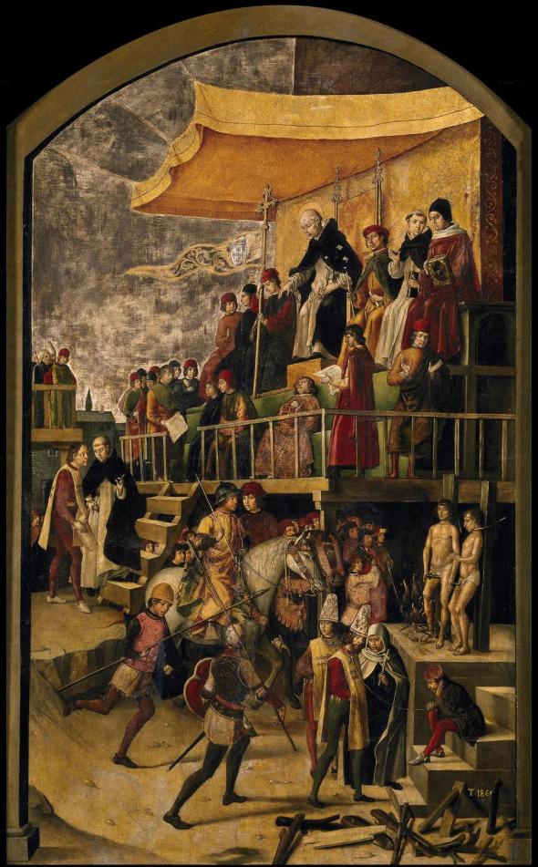 Pedro Berruguete, San Domenico presiede a un autodafé, 1450 ca
