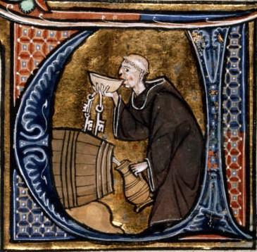 un-monaco-cellario-degusta-del-vino-da-una-botte