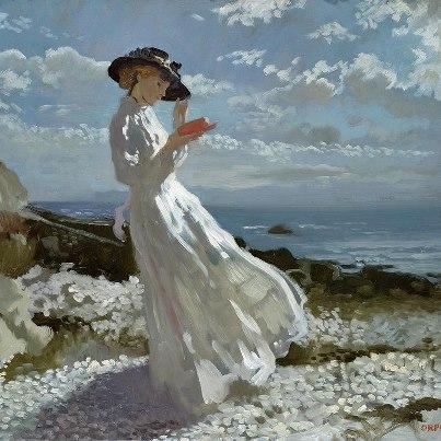 Orpen, Grace reading at Howth Bay