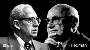 stigin it to the man george stigler As stigler expressed it else- where, the discipline that assumes man to be a reasonably efficient utility maximizer is singularly ill-suited to assuming that the political activity of men bears little relationship to their desires  .